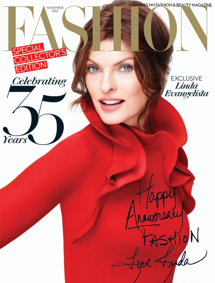 Linda Evangelista on cover of Fashion magazine, Nov. 2012, ph. Pamela Hanson