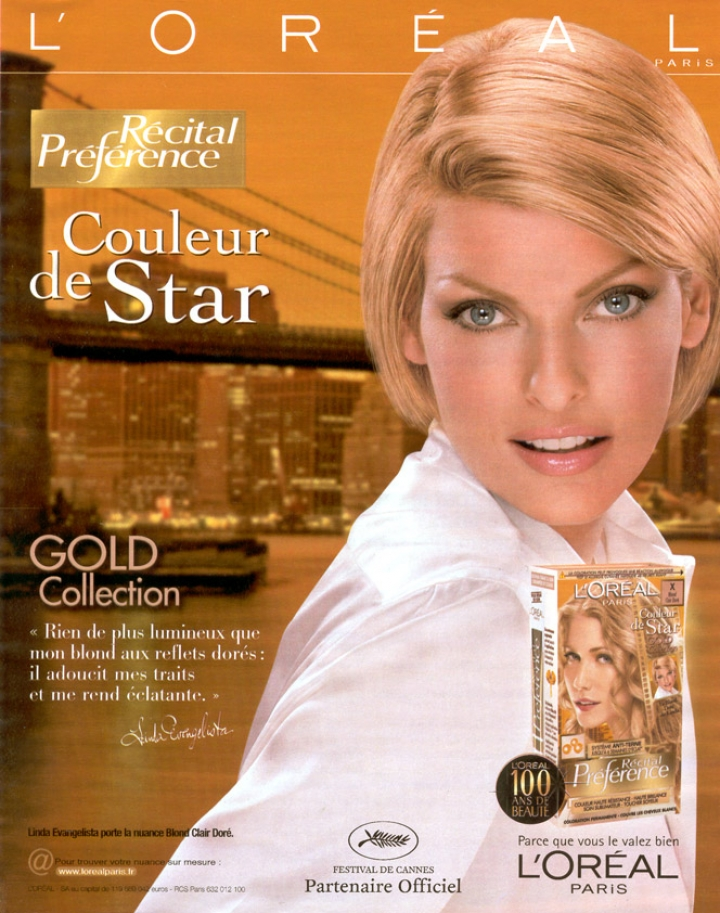 "Linda Evangelista for ""Recital Préférence - Gold collection"" from L'Oreal"