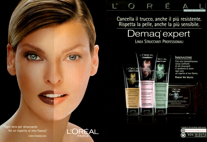 Linda in different versions of L'Oreal Paris Demaq'expert and Double Extension mascara ads